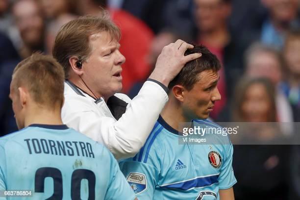 Jens Toornstra of Feyenoord caretaker Fred Zwang of Feyenoord Steven Berghuis of Feyenoordduring the Dutch Eredivisie match between Ajax Amsterdam...