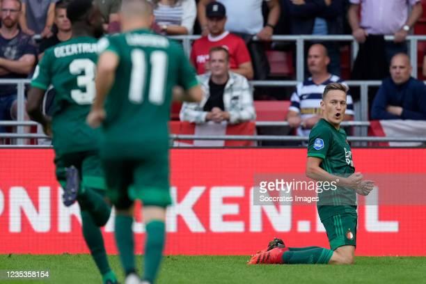 Jens Toornstra of Feyenoord celebrates 0-3 during the Dutch Eredivisie match between PSV v Feyenoord at the Philips Stadium on September 19, 2021 in...