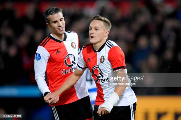 Jens Toornstra of Feyenoord celebrates 40 with Robin van Persie of Feyenoord during the Dutch Eredivisie match between Feyenoord v De Graafschap at...