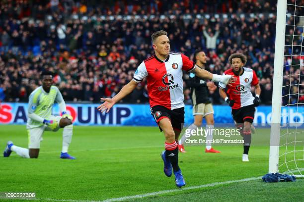 Jens Toornstra of Feyenoord celebrates scoring his side's first goal during the Eredivisie match between Feyenoord and Ajax at De Kuip on January 27,...