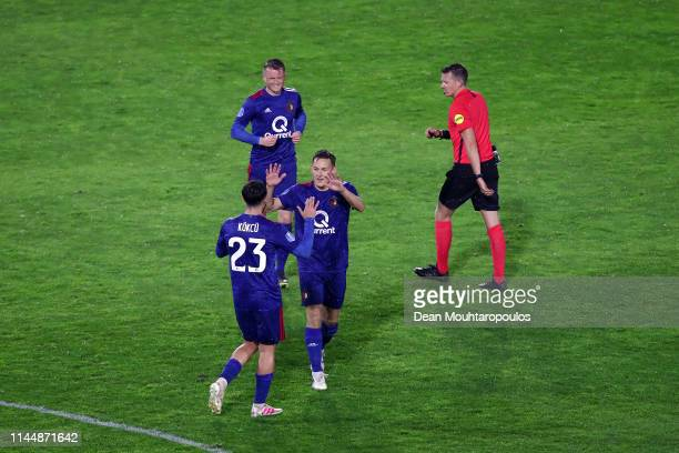 Jens Toornstra of Feyenoord celebrates with team mates after scoring during the Eredivisie match between NAC Breda and Feyenoord at Rat Verlegh...