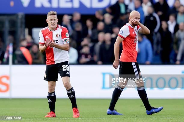 Jens Toornstra of Feyenoord, Gernot Trauner of Feyenoord during the Dutch Eredivisie match between Feyenoord v RKC Waalwijk at the Stadium Feijenoord...