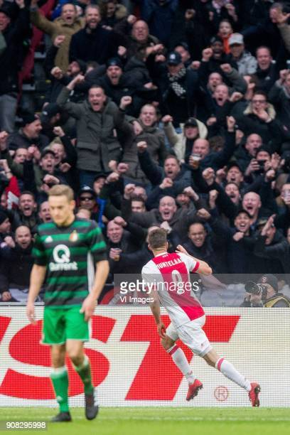 Jens Toornstra of Feyenoord Klaas Jan Huntelaar of Ajax during the Dutch Eredivisie match between Ajax Amsterdam and Feyenoord Rotterdam at the...