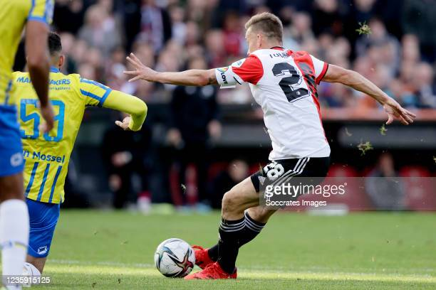 Jens Toornstra of Feyenoord scores the first goal to make it 1-0 during the Dutch Eredivisie match between Feyenoord v RKC Waalwijk at the Stadium...
