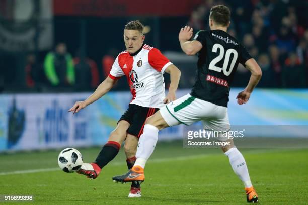 Jens Toornstra of Feyenoord Yoell van Nieff of FC Groningen during the Dutch Eredivisie match between Feyenoord v FC Groningen at the Stadium...