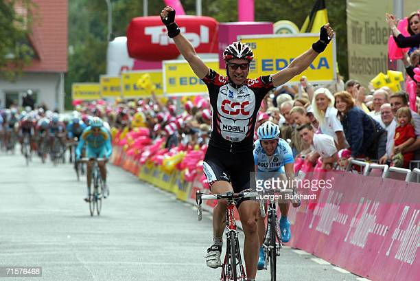 Jens Voigt of Germany and CSC celebrates after winning Stage 2 of the Deutschland Tour between Minden and Goslar on August 3, 2006 in Goslar, Germany.