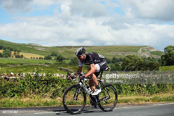 Jens Voigt of Germany and Trek Factory Racing leads the race in a solo break away during the first stage of the 2014 Tour de France a 190km stage...