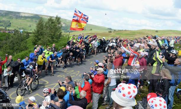 Jens Voigt of Germany climbs up Grinton Moor during the Stage One of Le Tour de France on July 5 2014 in Harrogate England