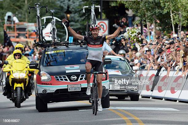 Jens Voigt of Germany riding for RadioShackNissanTREK wins Stage Four of the USA Pro Challenge from Aspen to Beaver Creek on August 23 2012 in Beaver...