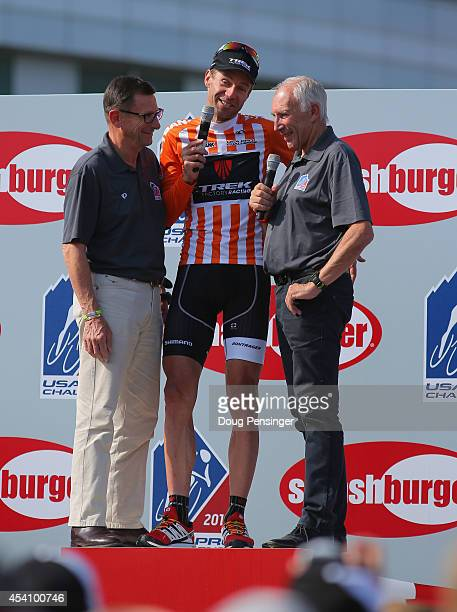Jens Voigt of Germany riding for Trek Factory Racing has his retirement celebrated by Paul Sherwen and Phil Liggett following stage seven of the 2014...