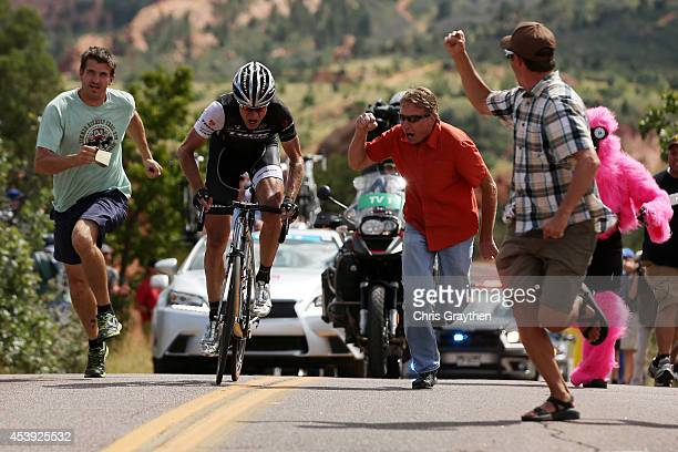 Jens Voigt of Germany riding for Trek Factory Racing rides through fans in the Garden of the Gods Park during stage four of the 2014 USA Pro...