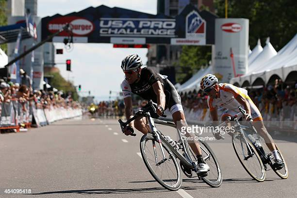 Jens Voigt of Germany riding for Trek Factory Racing rides with Javier Megias Leal of Spain riding for Team Novo Nordisk ride in a breakaway during...