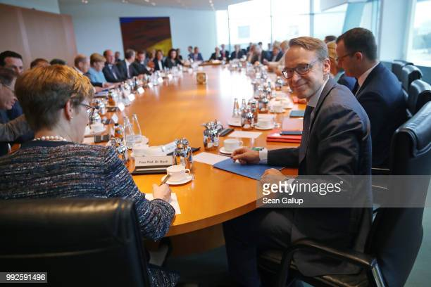 Jens Weidmann President of the Bundesbank attends the weekly German government cabinet meeting on July 6 2018 in Berlin Germany Today's cabinet...