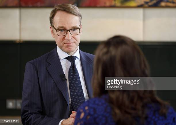 Jens Weidmann president of the Deutsche Bundesbank pauses during a Bloomberg Television interview following news conference to announce the German...