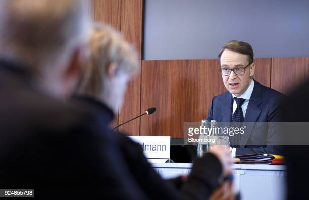 Jens Weidmann president of the Deutsche Bundesbank speaks during a news conference to announce the German central banks annual report in Frankfurt...