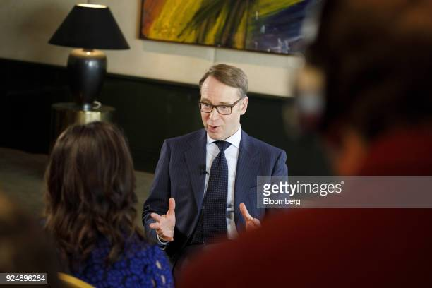 Jens Weidmann president of the Deutsche Bundesbank speaks during a Bloomberg Television interview following news conference to announce the German...