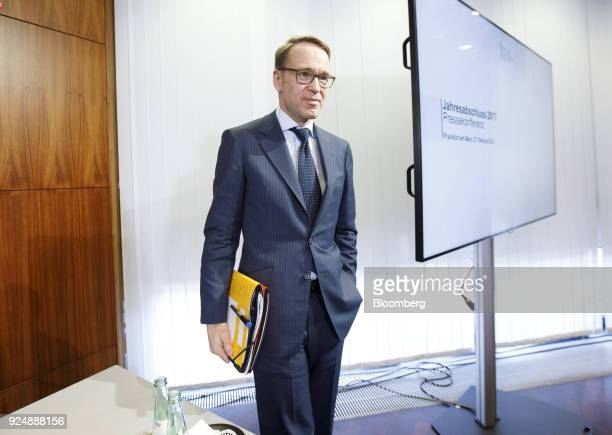 Jens Weidmann president of the Deutsche Bundesbank stands following a news conference to announce the German central banks annual report in Frankfurt...
