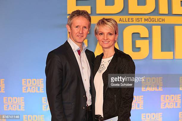Jens Weissflog and Doreen Fiebich during the 'Eddie the Eagle' premiere at Mathaeser Filmpalast on March 20 2016 in Munich Germany