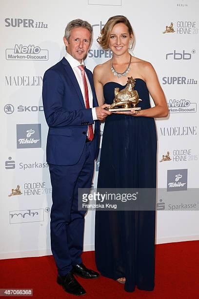 Jens Weissflog and Franziska Preuss attend Madeleine At Goldene Henne 2015 on September 05 2015 in Berlin Germany