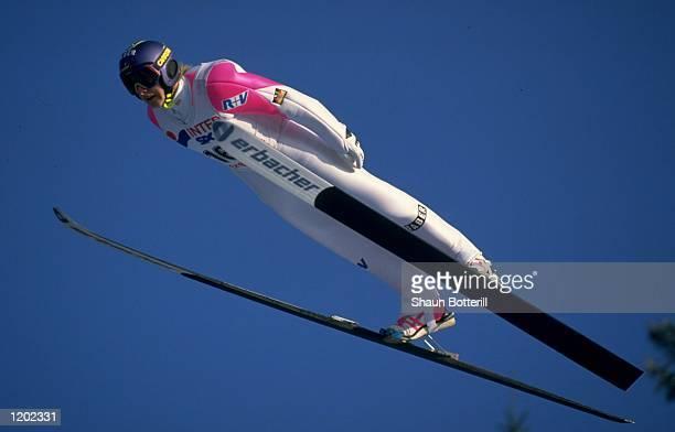 Jens Weissflog of Germany in action during a Ski Jump event in GarmischPartenkirchen Germany Mandatory Credit Shaun Botterill/Allsport