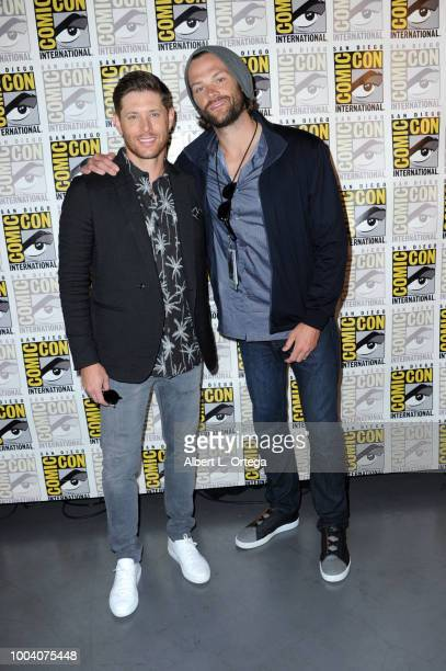 Jensen Ackles and Jared Padalecki attend the Supernatural special video presentation and QA during ComicCon International 2018 at San Diego...