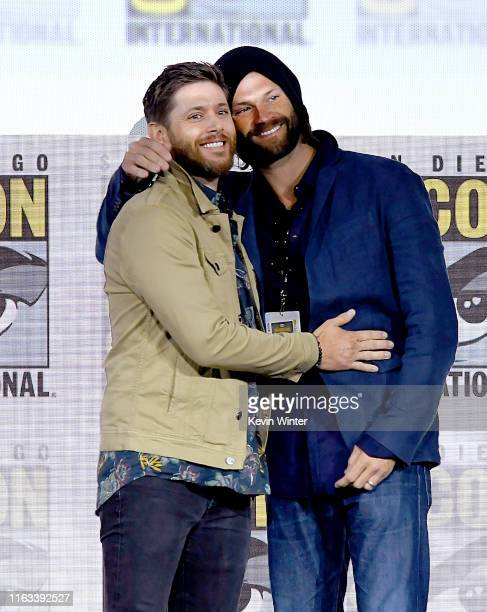 Jensen Ackles and Jared Padalecki speak at the Supernatural Special Video Presentation and QA during 2019 ComicCon International at San Diego...