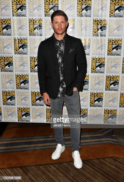 """Jensen Ackles attends the """"Supernatural"""" press line during Comic-Con International 2018 at Hilton Bayfront on July 22, 2018 in San Diego, California."""