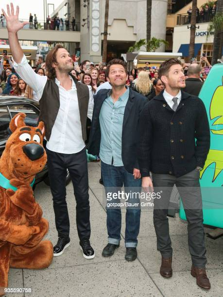 Jensen Ackles Jared Padalecki and Misha Collins are seen arriving at the 2018 PaleyFest screening of CW's 'Supernatural' on March 20 2018 in Los...