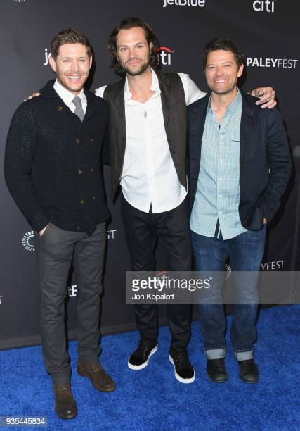 Jensen Ackles Jared Padalecki and Misha Collins attend the 2018 PaleyFest Los Angeles CW's 'Supernatural' at Dolby Theatre on March 20 2018 in...
