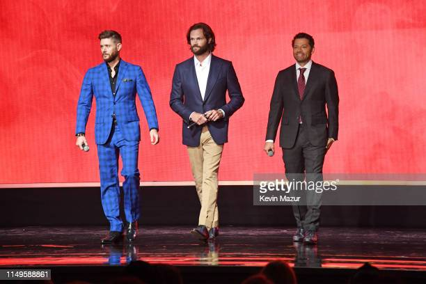 Jensen Ackles Jared Padalecki and Misha Collins of Supernatural speak onstage during the The CW Network 2019 Upfronts at New York City Center on May...