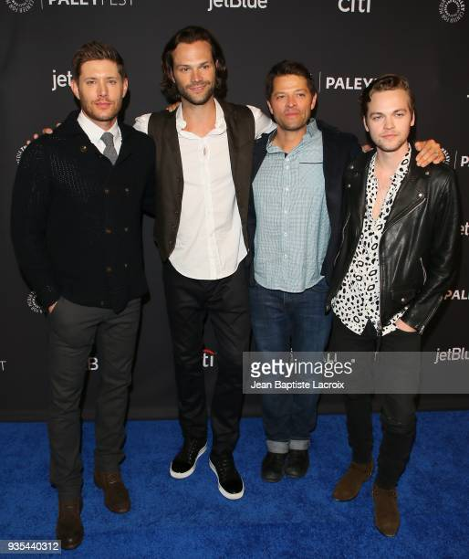 Jensen Ackles Jared Padalecki Misha Collins and Alexander Calvert attend the 2018 PaleyFest Los Angeles screening and panel discussion of CW's...
