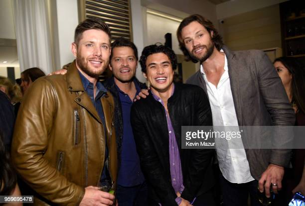 Jensen Ackles Misha Collins Charles Melton and Jared Padalecki attend The CW Network's 2018 upfront party at Avra Madison Estiatorio on May 17 2018...
