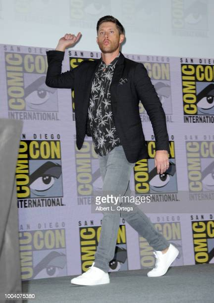 Jensen Ackles speaks onstage at the Supernatural special video presentation and QA during ComicCon International 2018 at San Diego Convention Center...