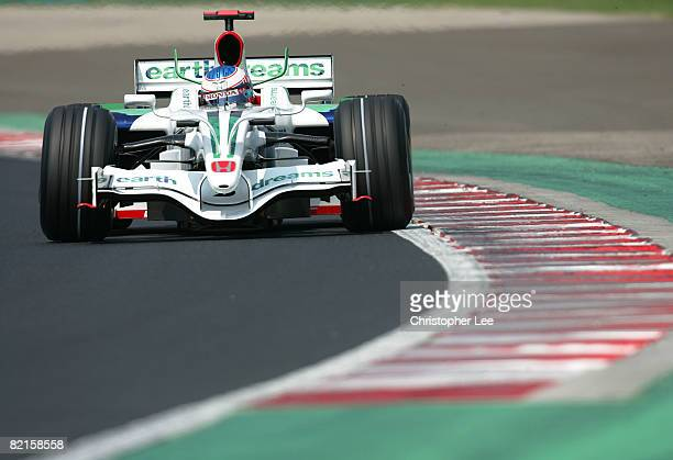 Jensen Button of Great Britain and Honda Racing in action during practice prior to Qualifying for the Hungarian Formula One Grand Prix at the...