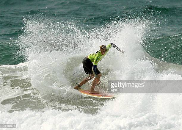 Jensen Hasset of USA places second in his opening round heat of the U18 boys to advance to round two of the Quiksilver ISA World Junior Championships...