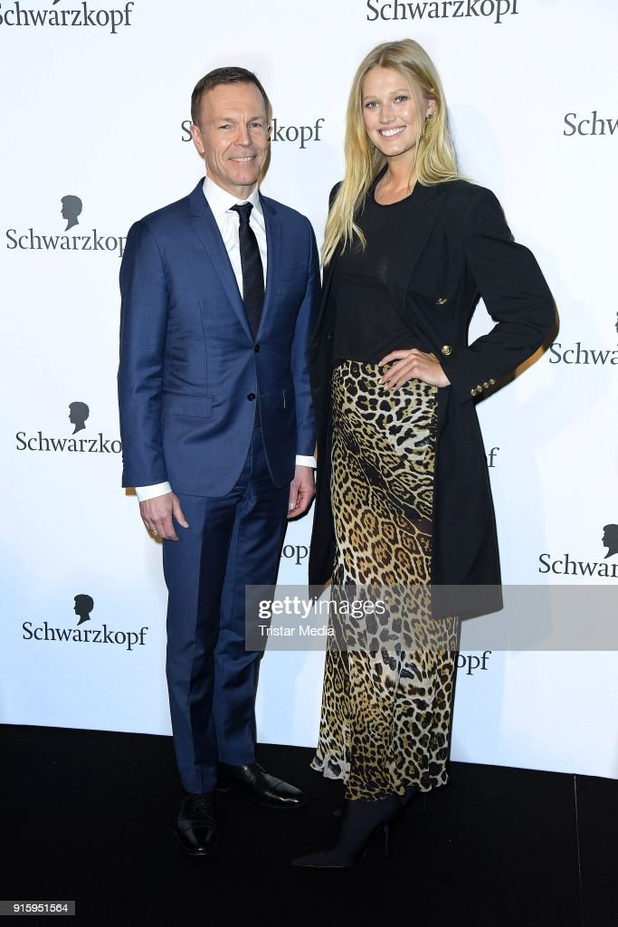 Jens-Martin Schwaerzler and Toni Garrn attend the 120th anniversary celebration of Schwarzkopf at U3 subway tunnel Potsdamer Platz on February 8, 2018 in Berlin, Germany.