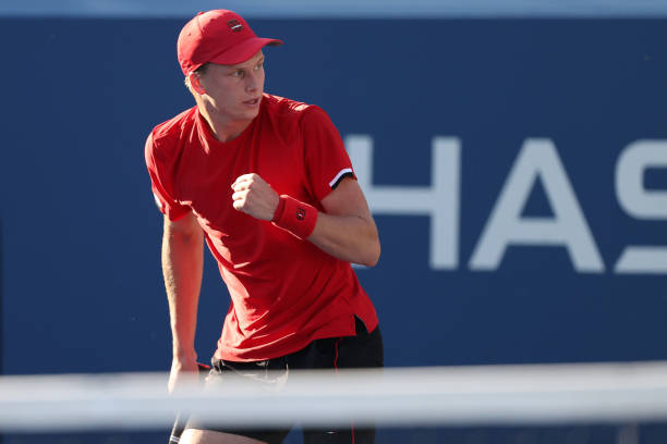 Jenson Brooksby of the United States celebrates a point against Aslan Karatsev of Russia during his Men's Singles third round match of the 2021 US...