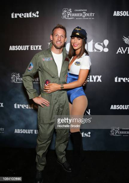 Jenson Button and Brittny Ward arrive at the The 8th Annual Trick or treats! Halloween party at the private residence of Jonas Tahlin, CEO of Absolut...