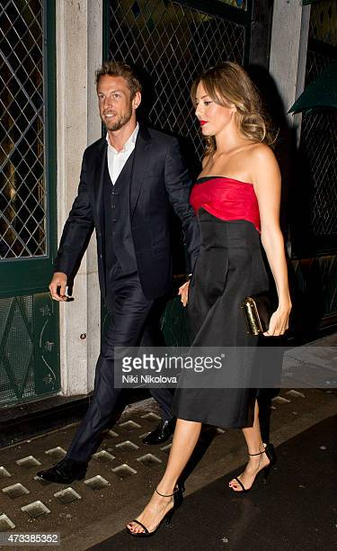 Jenson Button and Jessica Michibata are seen arriving at the Ivy restaurant Soho on May 14 2015 in London England