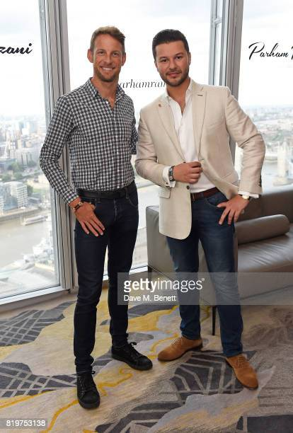 Jenson Button and Parham Ramezani attend Parham Ramezani X Jenson Button jewellery launch at The Shard on July 20 2017 in London England