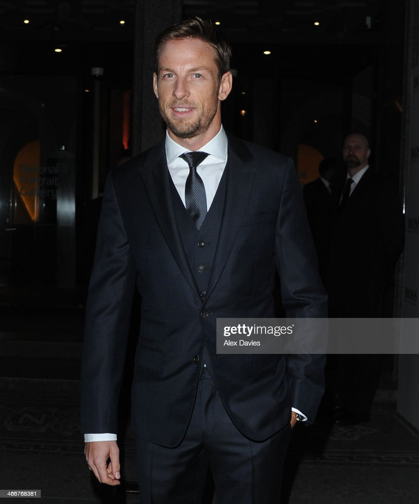 Jenson Button Arriving at the national portrait gallery sighting on February 3, 2014 in London, England.