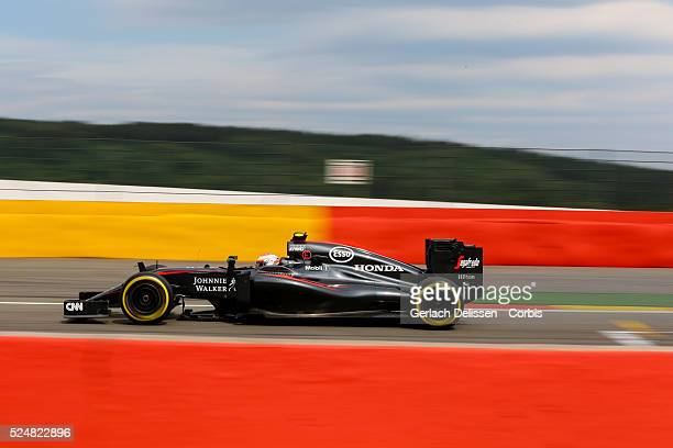 Jenson Button driving for the McLaren Honda Team in action during the race of the 2015 Formula 1 Shell Belgian Grand Prix at Circuit de...