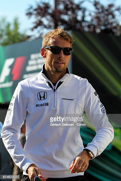 Jenson Button driving for the McLaren Honda Team in the paddock during the 2015 Formula 1 Shell Belgian Grand Prix at Circuit de SpaFrancorchamps in...