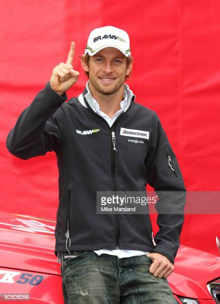 Jenson Button Formula 1 World Champion attends a photocall to launch Virgin Media's Speed Week 50 on October 20 2009 in Greenhithe England