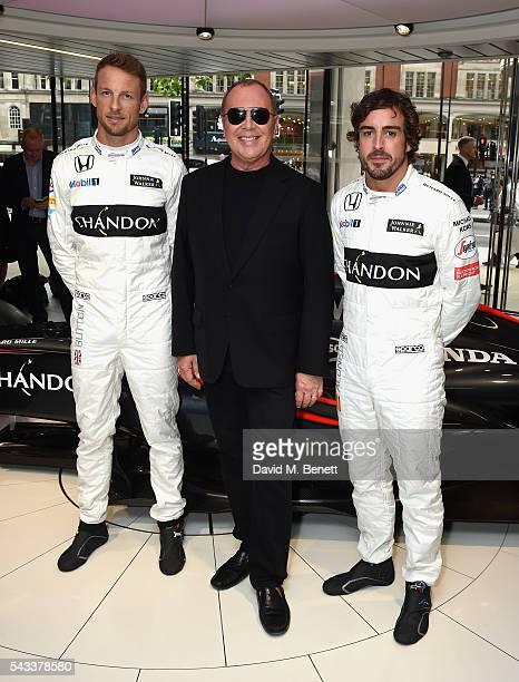 Jenson Button, Michael Kors and Fernando Alonso attend Michael Kors and McLaren-Honda announcement on June 22, 2016 in London, England.