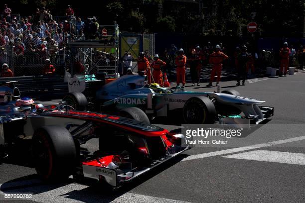 Jenson Button Nico Rosberg McLarenMercedes MP428 Mercedes F1 W04 Grand Prix of Monaco Circuit de Monaco 26 May 2013 Jenson Button and Nico Rosberg...