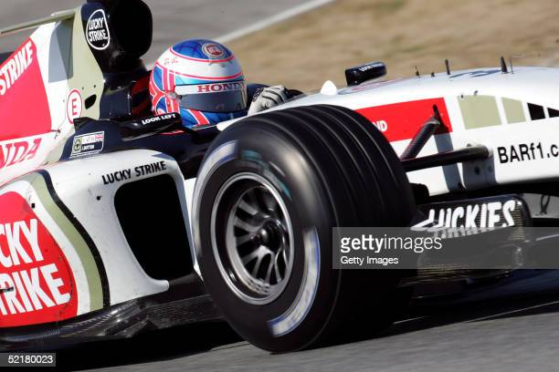 Jenson Button of Great Britain and BAR Honda in action during testing at Circuito de Jerez on February 9 2005 in Jerez Spain