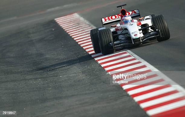 Jenson Button of Great Britain and BAR in action at the launch of the new F1 BAR Honda 006 at the Circuit de Catalunya on February 1 2004 in...