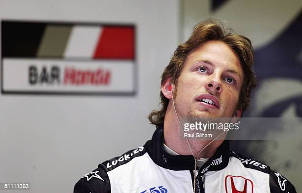 Jenson Button of Great Britain and BAR in the team garage during the practice session prior to qualifying for the German F1 Grand Prix at the...