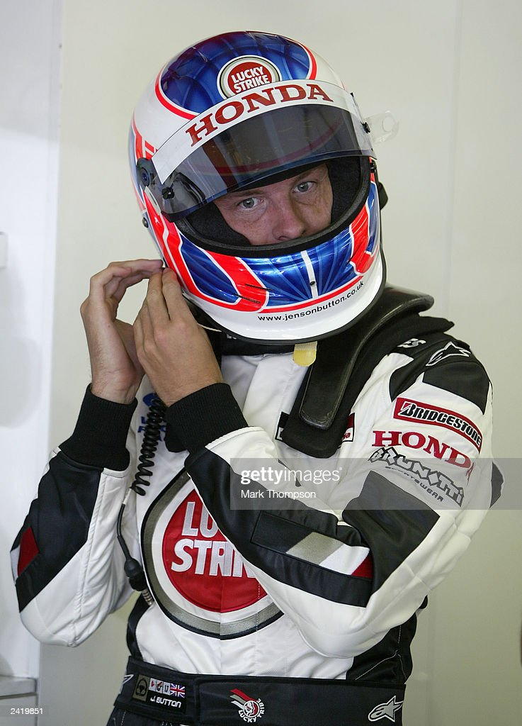 Jenson Button of Great Britain and BAR prepares to qualify for the Formula One Hungarian Grand Prix at the Hungaroring on August 23, 2003 in Budapest, Hungary.